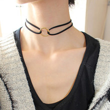 Simple Fashion Jewelry Gold Plated Hollow Round Double Black Leather Choker Necklaces & Pendants For Women Gothic Collares(China (Mainland))