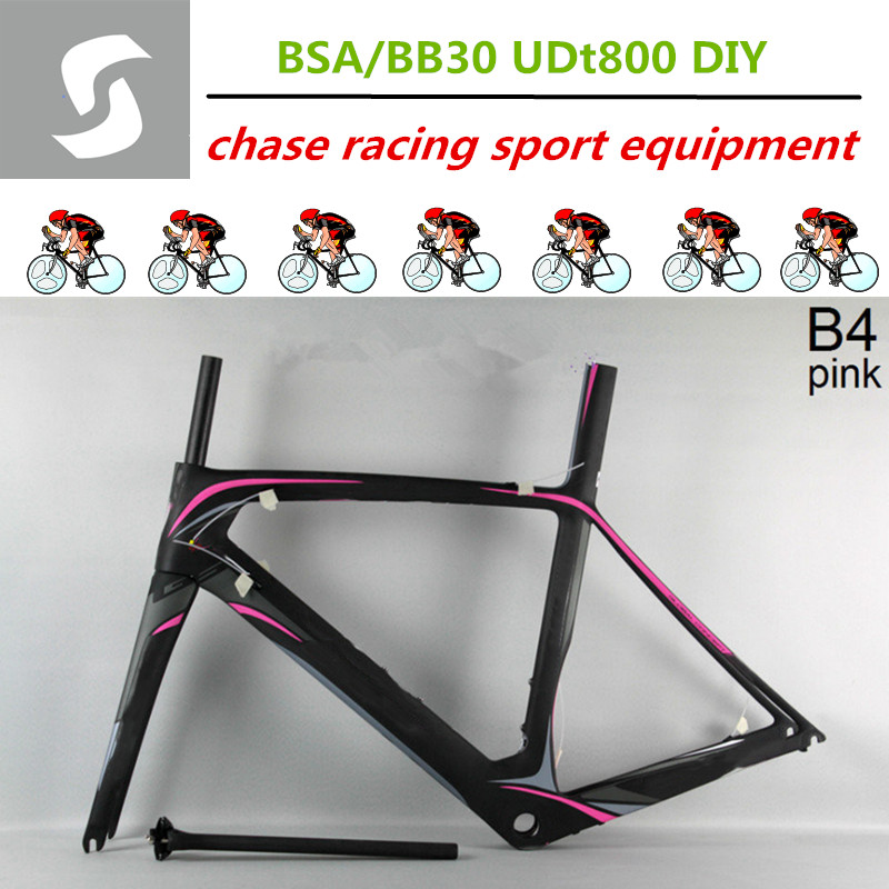 Carbon Fiber UD Toray T800 road bike frame B4 pink carbon frame bike BSA/bb30 UD matte free shipping and two years warranty(China (Mainland))