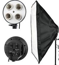 Free shipping Portable Photo Studio Lighting Softbox Video Light 50*70cm Light head with 4 in 1 E27 Lamp Holder ,softbox kit