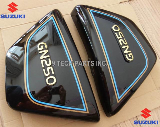 Right & Left Frame Side Covers Panels Suzuki GN 250 GN250  Black Color