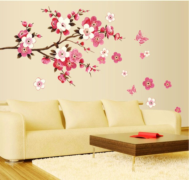 Free Shipping Removable PVC Modern Peach blossom Butterfly Home Decor Art Wedding Room Girls Room Wall Stickers Decal Poster(China (Mainland))