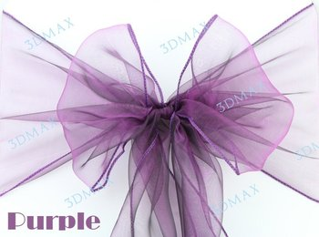 50pcs new ultra purple sparkle organza chair sashes wedding party banquet decoration