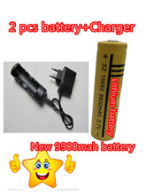 2PCS Battery 18650 Battery Lithium battery Charger 9900mAh 3.7v Rechargeable Battery + Travel Charger