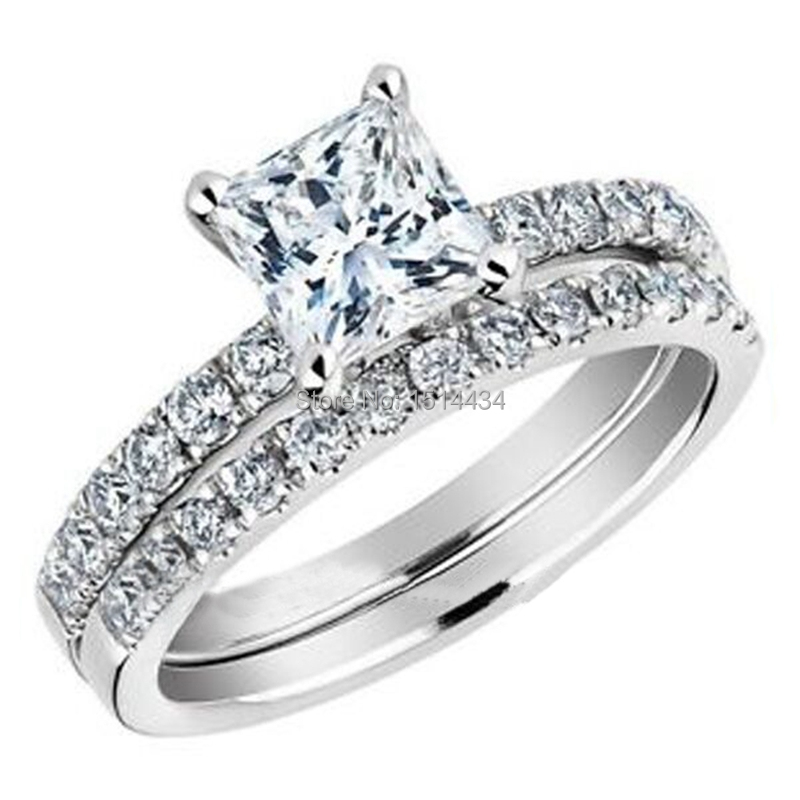 Size 5 11 Women Wedding Engagement Double Ring Set With Princess Cut CZ Stone