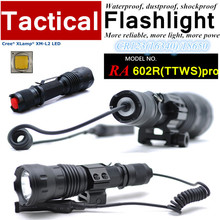 RA-602R-PRO Army CREE XM-L2 U2 Customize mode CR123 torch Tactical Flashlight light with Rail Mount,Tail-wire Pressure Switch(China (Mainland))