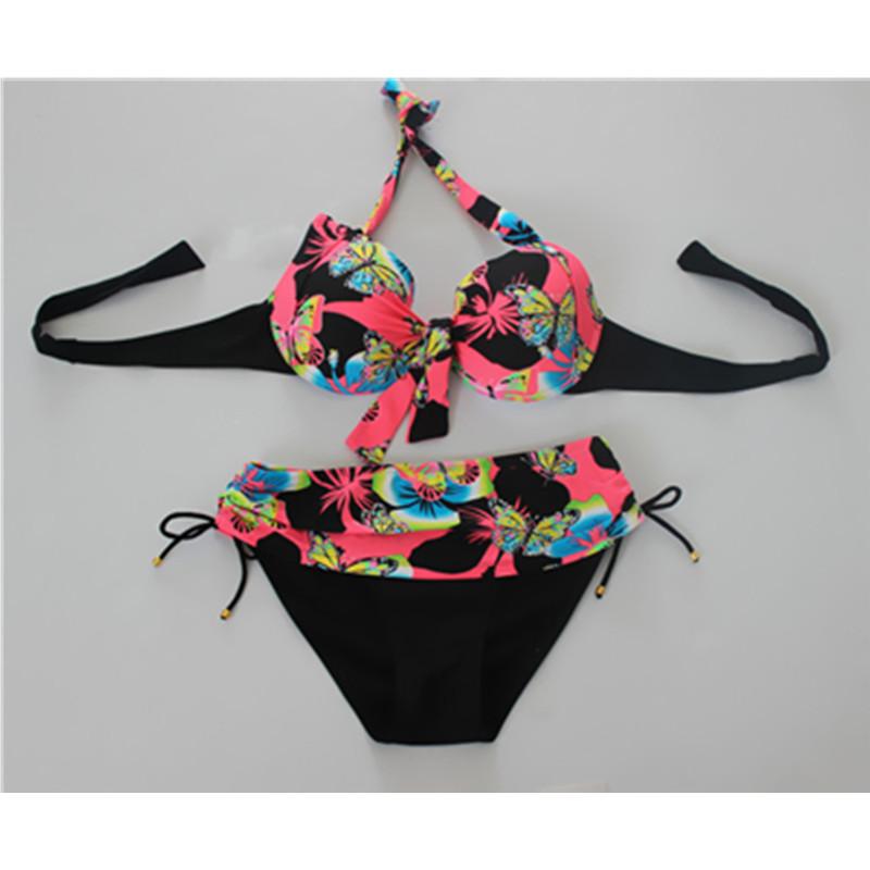 Plus Size 6XL Women Bikinis Set Butterfly Printed Push Up Biquini Swimwear Large Size 48-56 Underwire Bathing Beach Swimsuits(China (Mainland))