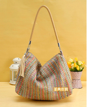 Women Channel Handbag Knitting Straw Summer Style Vintage Beach Bag Large Woven Shoulder Bags Bohemian 2015