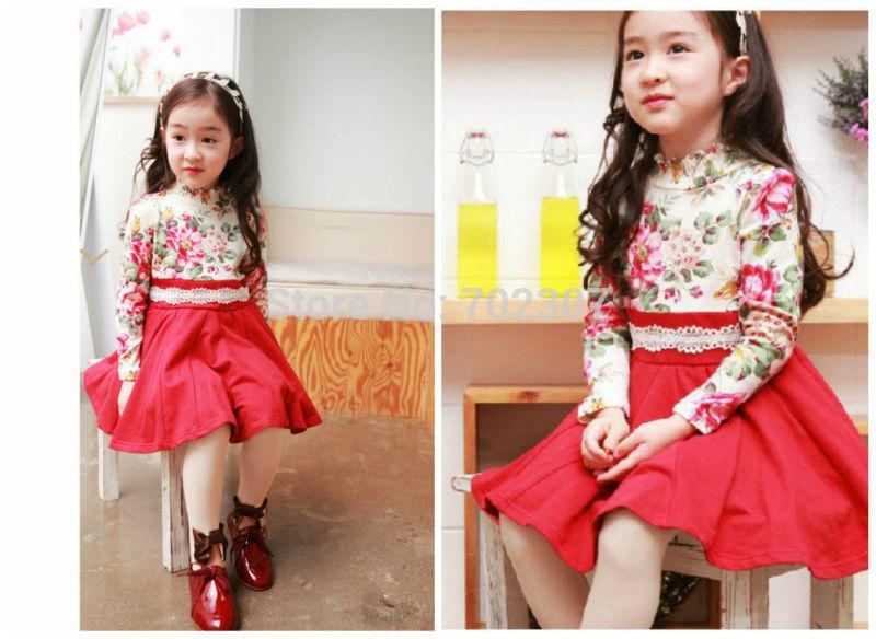 Wholesale new autumn girl dress lovely Cartoon dress, children girl flower dress 6pcs/lot free shipping MK-211<br><br>Aliexpress