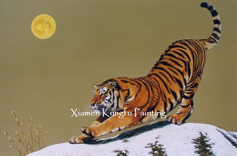 100% handpainted tiger painting reproduction oil on canvas high quality(China (Mainland))