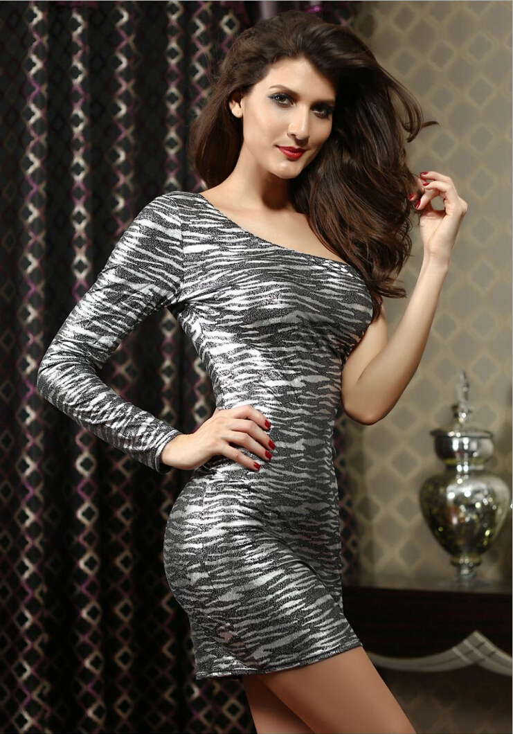 2015 Sexy Club vestidos clothing zebra Mini Dress Women Summer Fashion Long sleeve Inclined shoulder Cocktail Party Dresses(China (Mainland))