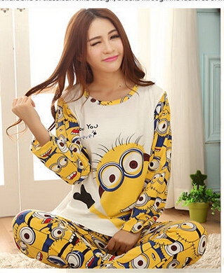 Гаджет  Lovers sleepwear 2015 spring autumn long-sleeve cartoon lovers home clothing couples matching pajamas adult minion pajamas sets None Одежда и аксессуары