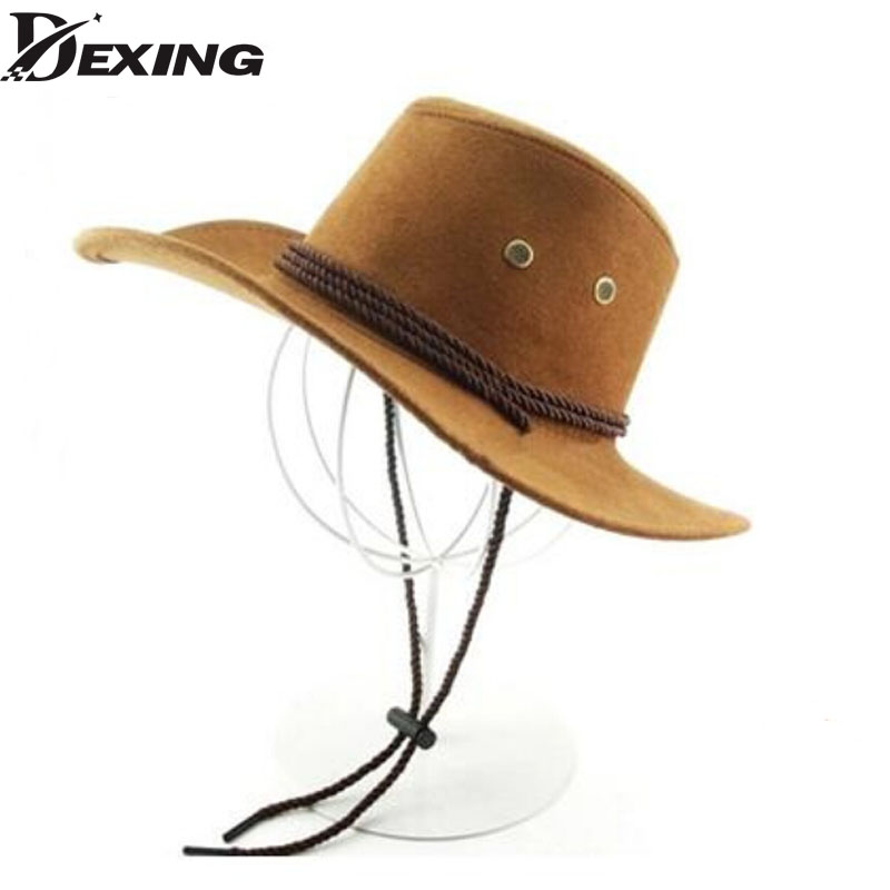 On The Box No deformation Wide Brim Faux Leather cowboy hats men women western Hollywood Party Costume travel outdoor cowboy hat