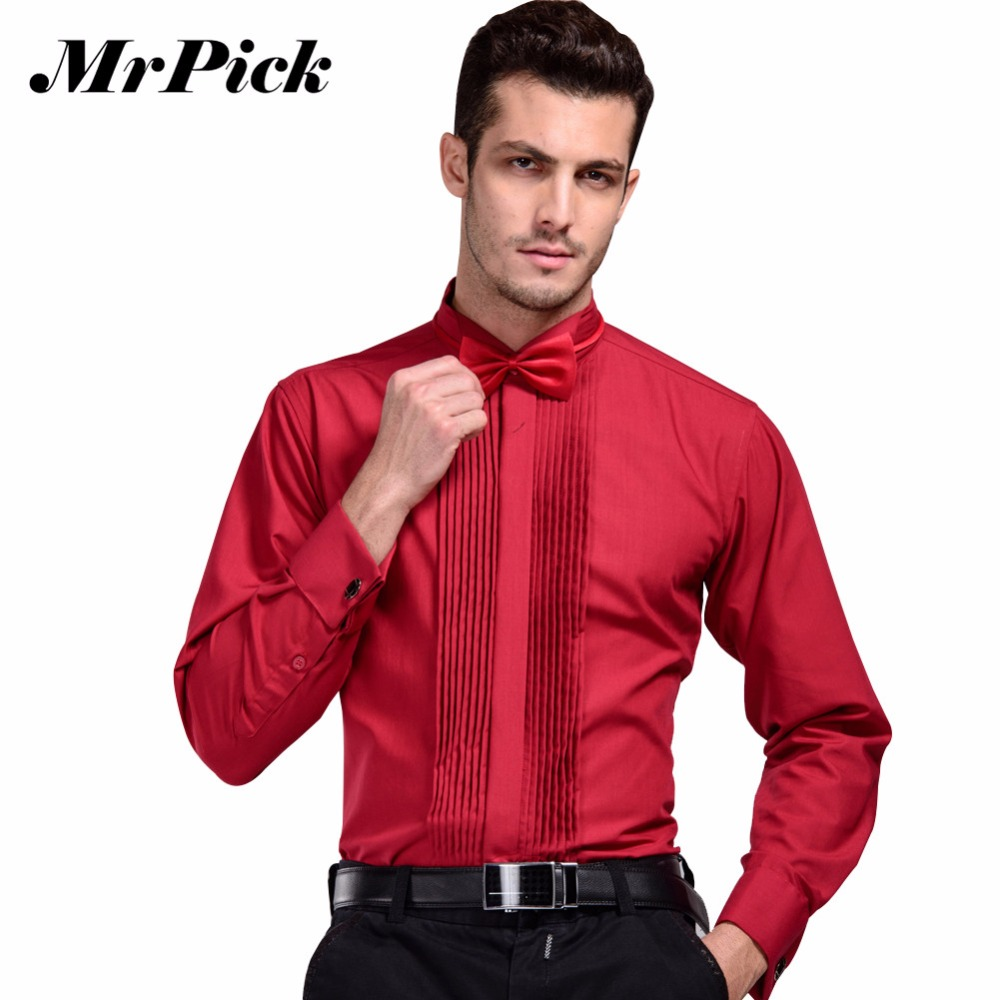 2016 New Brand French Cuff Button Shirt Mens Business Casual