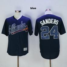 #24 Deion Sanders jersey sports uniform 10 Chipper Jones jerseys gray blue white red beige color cheap Atlanta Braves jersey(China (Mainland))