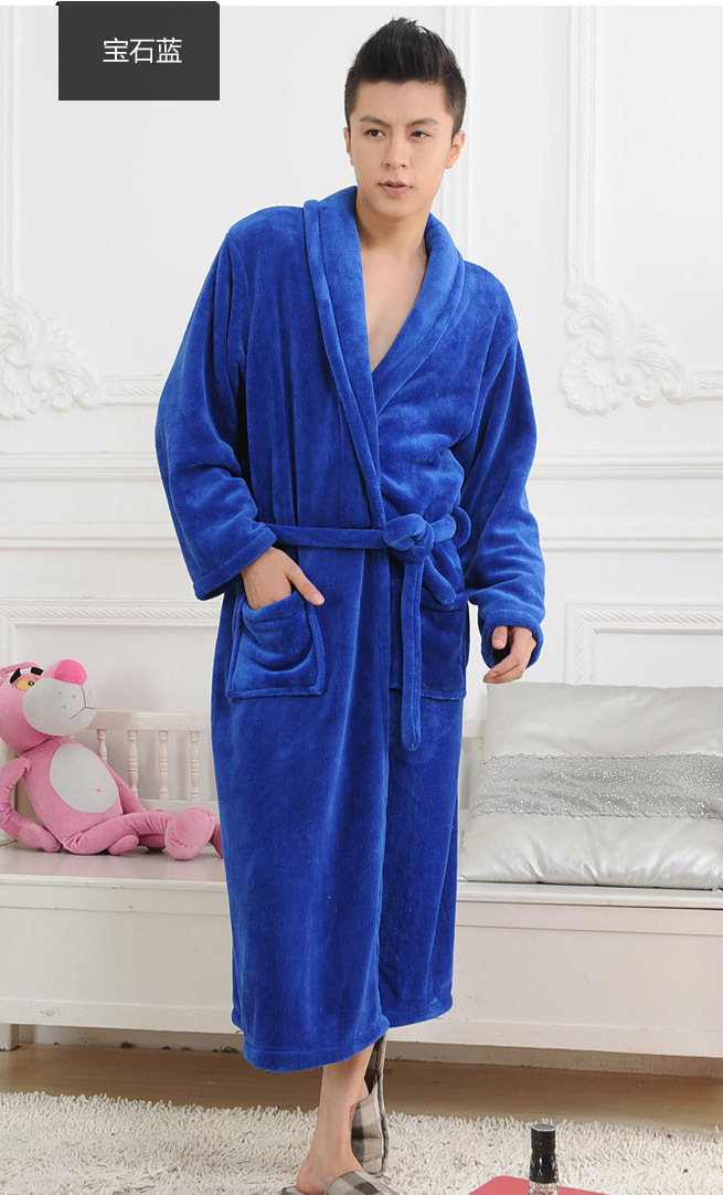 2015 Winter Autumn thick flannel men s women s Bath Robes gentlemen s homewear male sleepwear