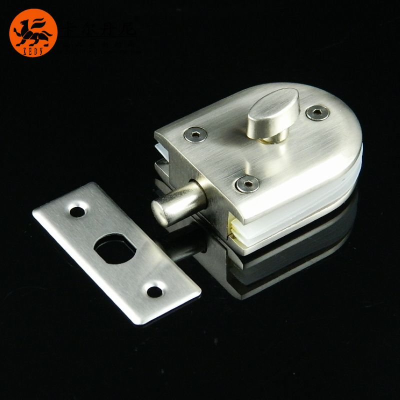Casting miniature single glass door latch Central locking glass door glass frameless glass bolt lock(China (Mainland))