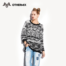 OTHERMIX 2015 Women Sweater Thick Pullovers Striped O-Neck Knitted Sweaters(China (Mainland))