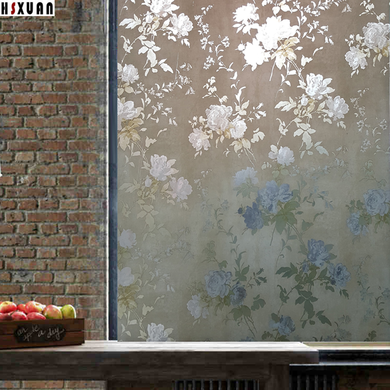Living room large glass window film sunscreen 92x100cm peony flower decor window removable stained glass static stickers 922301(China (Mainland))