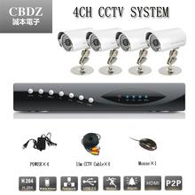 4 CCTV surveillance system 1 / 3'coms 800TVL HD Camera DVR Power Cable DVR support mobile computer mouse remote P2P
