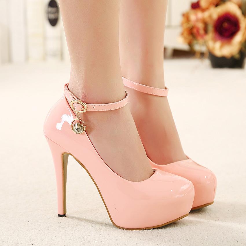 New Women Black High Heel Shoes Pink Close Toe Ankle Strap Heels Pumps 12Cm Patent Leather Sandals 2015 Wedding Bridal Platform(China (Mainland))
