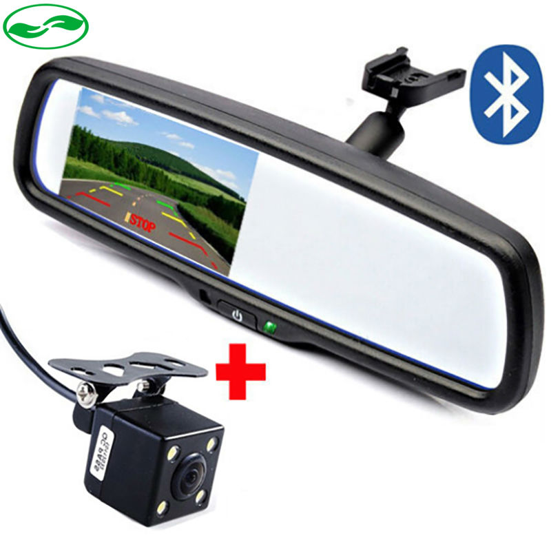 """4.3"""" Special Bracket Rearview Mirror Car Monitor With Bluetooth Speaker Music Car Kit + CCD Rear View Camera Parking Assistance(China (Mainland))"""