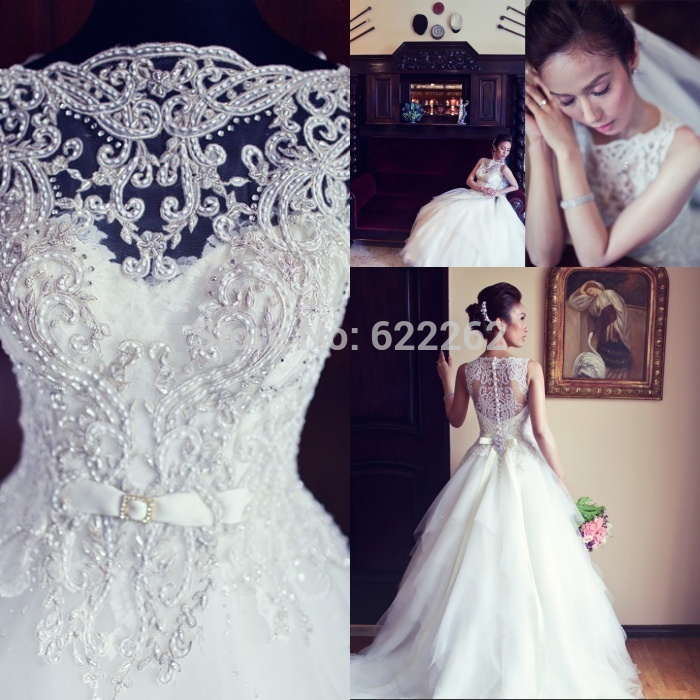 Real Sample A Line Scoop Chapel Train White Organza Lace Wedding Dresses Gorgeous Discount Wedding Gowns Bridal(China (Mainland))