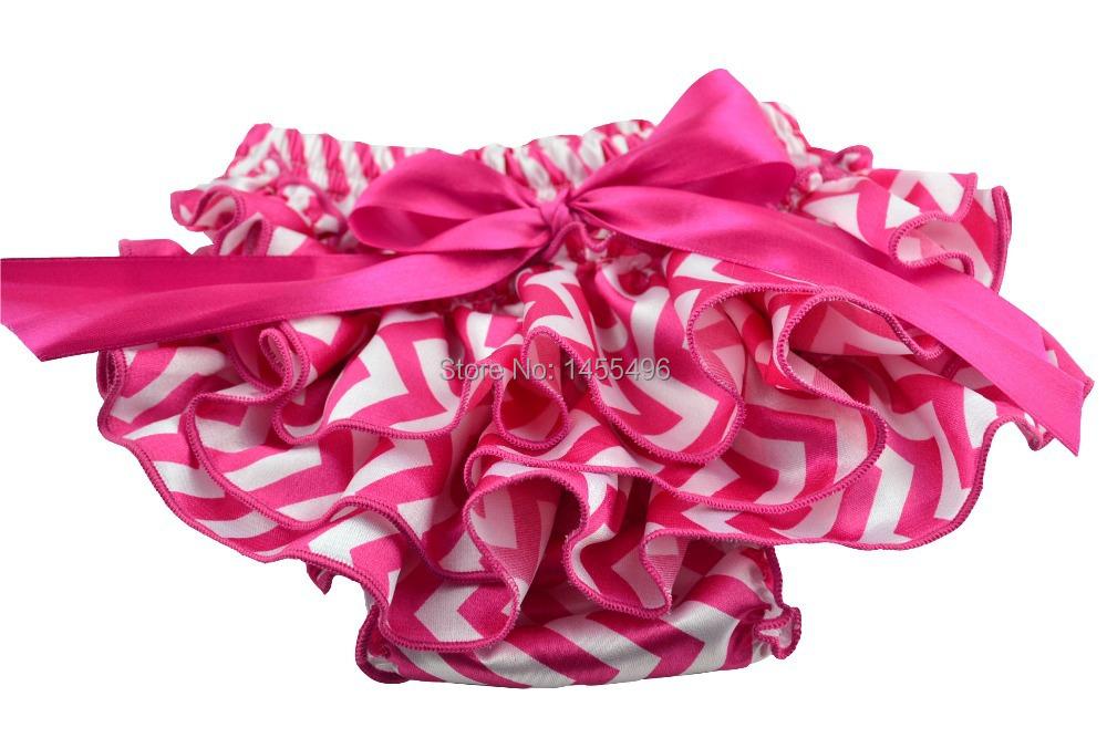 Free shipping Hot pink&amp;White chevron baby satin ruffle bloomer<br><br>Aliexpress