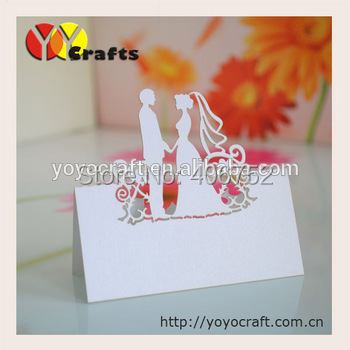 Lovely bride groom white table seat place cards cheap for guests of wedding engagement party(China (Mainland))