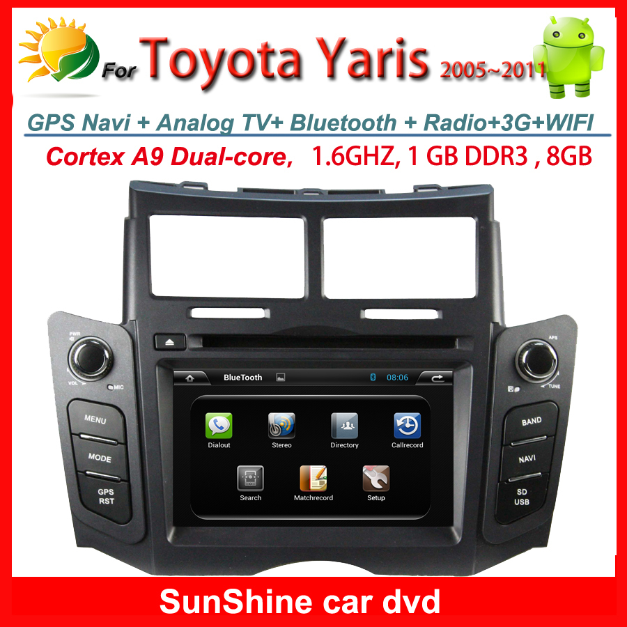 Android 4.4.4 2 din car stereo for Toyota Yaris Navigation Radio Bluetooth TV 3G WIFI iPhone USB AUX GPS Car dvd player Free MAP(China (Mainland))
