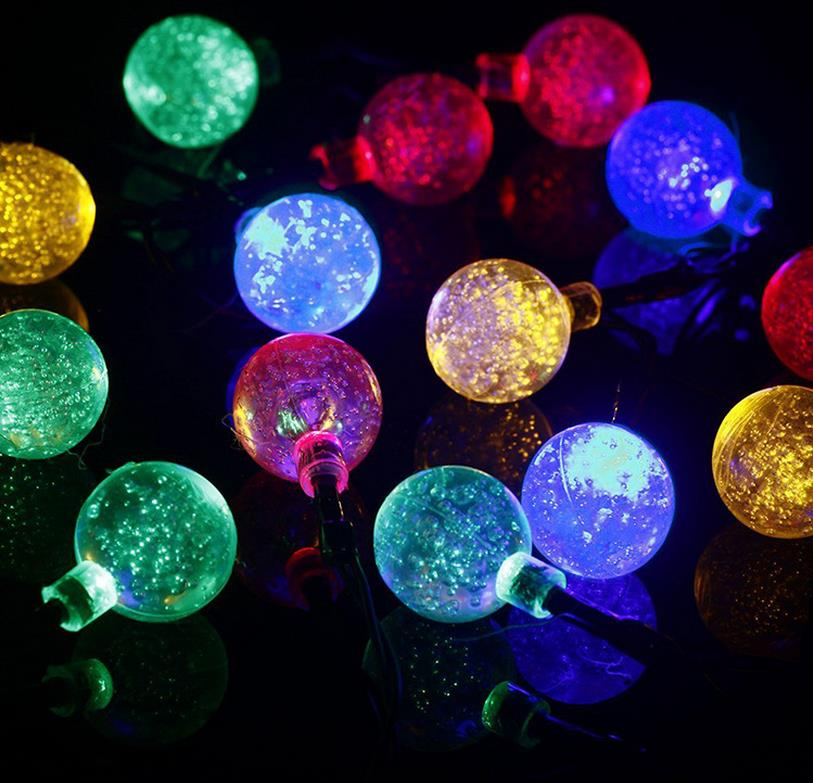 solar powered outdoor string lights waterproof 20 led bubble balls lamp fairy string christmas. Black Bedroom Furniture Sets. Home Design Ideas