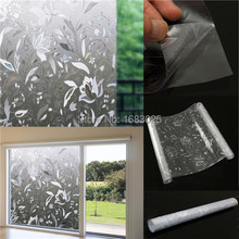 45x100cm Removable Recyclable Glass Door Window Film 3D Flower Sticker PVC Static Cling Glass film Wall Sticker Home Decor(China (Mainland))