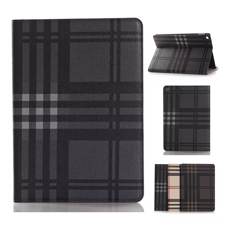 For Funda iPad Air 2 Case Luxury Plaid Book Stand Leather Case Cover for iPad Air 2 Coque Capa 9.7 Tablets with Card Slots(China (Mainland))