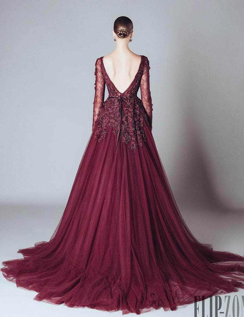 Long Sleeve Burgundy Evening Dresses Gown Sexy V Neck with ...