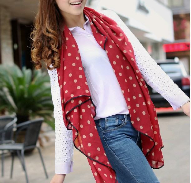 2014 Fashion Styles 135 *135cm Square Women Scarf Cute Dots Chiffon Scarves Shawls s T133 - Yu BeautyIng Industry Co.,Ltd. store