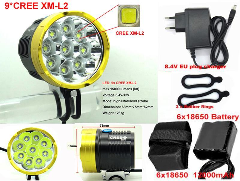 15000Lm bike lamp light 9xCREE 9 XM-L2 bicycle LED Lamp  Bike Light with 6x18650 12000mah battery pack