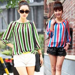 2015 Spring Plus Size Clothing Slim Vertical Stripe Color Block Three Quarter Sleeve Shirt  Chiffon Shirt Blouses Tops