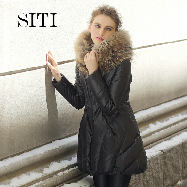 Clearance 2014 winter new fashion womens coat raccoon fur collar slim mid-long stitching outerwear Dropship - Andy Xu store