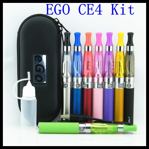 10pcs/lot eGo CE4 Kits E Cig 1100mah eGo T Battery CE4 vaporizer in a Zipper Case electronic cigarette starter kit free shipping<br><br>Aliexpress
