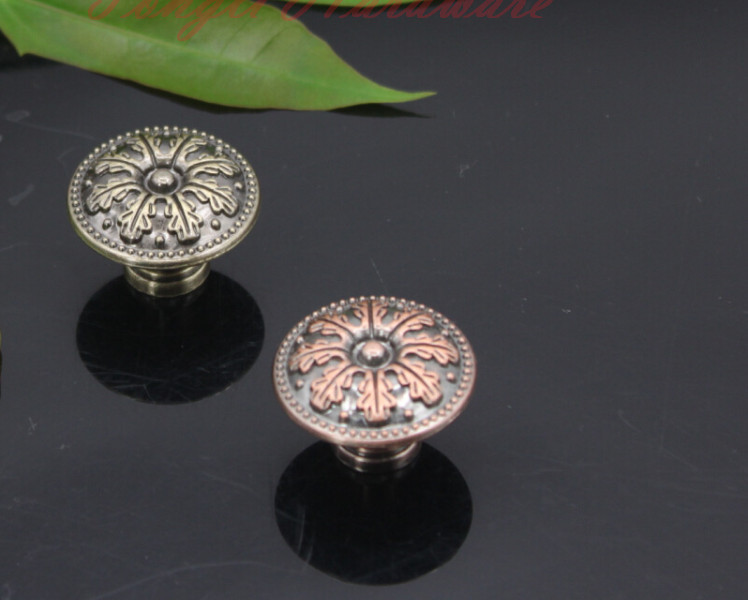 10 pcs/lot antique copper vintage door knob/pull with maple leaf carving , for cabinet, kitchen and drawer, free shipping(China (Mainland))