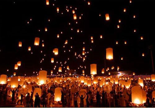 Holiday Lighting Mix Colors Romantic Chineses Lantern Flying Sky Lantern Wishing Lamp Wedding Party Paper Lights(10Pcs/Pack)