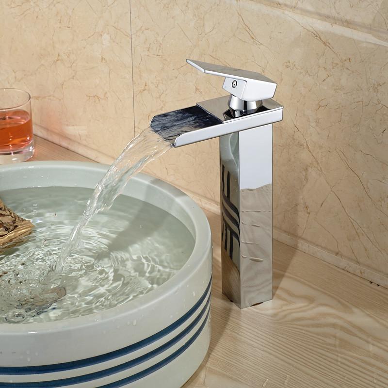 Купить Современная Широкое Водопад Ванная Комната Сосуд Раковина Бассейна Кран Смесителя Одной Ручкой Хромированная Отделка
