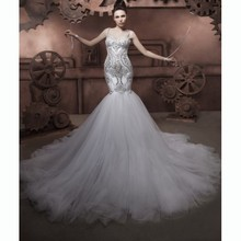 Luxury Fish Tail Wedding Dresses Mermaid Crystal Beading Spaghetti Straps Bridal Gowns On Sale with Big Sweetheart Hole Back