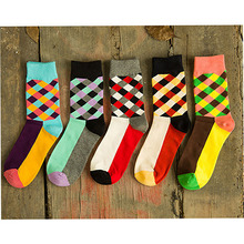 New Brand Happy socks British Style Plaid Socks Gradient Color High Quality Men's Cotton argyle Socks Free Shipping