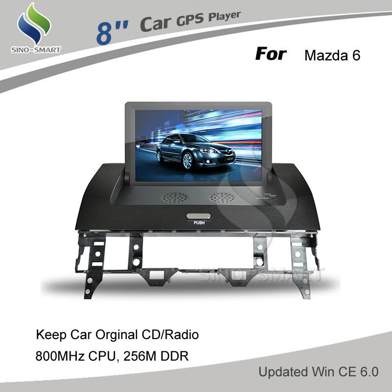 8 inch Car GPS navigation for Mazda 6 keeps your car original CD/Radio, 800MHz CPU 256M DDR WIN CE 6.0(Hong Kong)