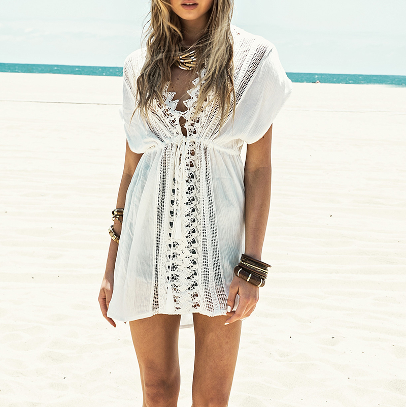 2016 New Beach cover up White Lace Swimsuit cover up Summer Crochet Beachwear Bathing suit cover ups Beach Tunic