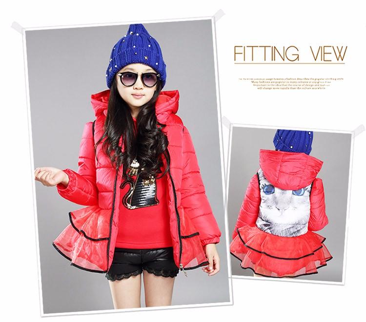 Buy 1 Get 1 Free Girls Winter Coat Fashion Fur Collar 2pcs Hooded Long Jacket Zipper Thick Flouncing Skirt Kids Down Coat Parkas