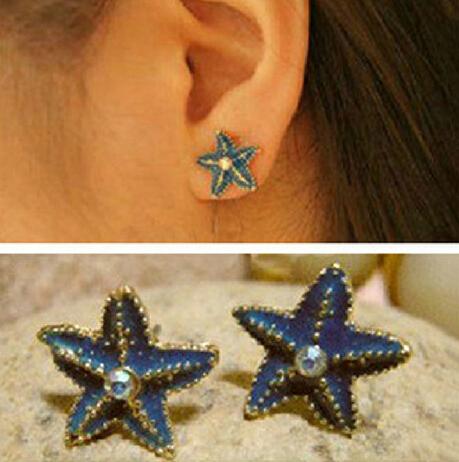 Fashion Top Jewelry Ocean Series Blue Starfish Stud Earrings Rhinestone Stud Earring Women(China (Mainland))