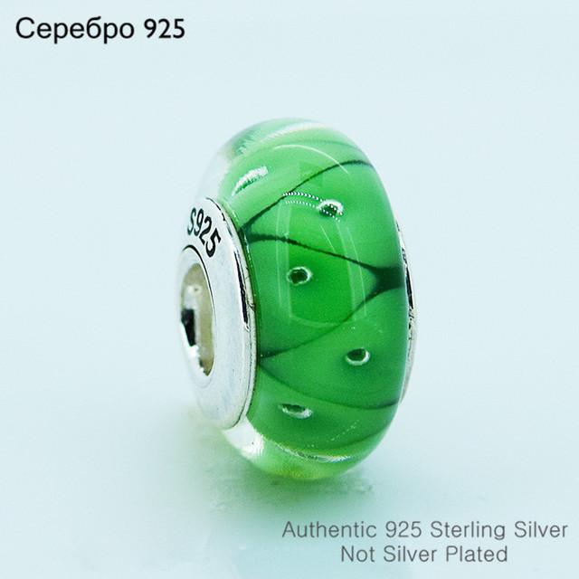 Зеленый муранского стекла бусины 925-Sterling-Silver женщин DIY ювелирных изделий подходит пандоры прелести браслет A606C
