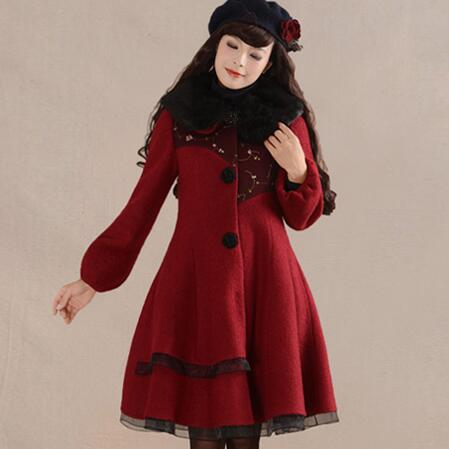 Women's Autumn Winter Vintage Turn down Collar Full Sleeve Single-breasted Full Hemline Solid Woolen Coat