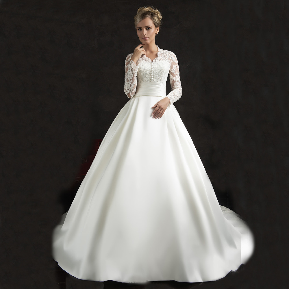Popular vintage long sleeve wedding dress buy cheap for Silk wedding dresses with sleeves